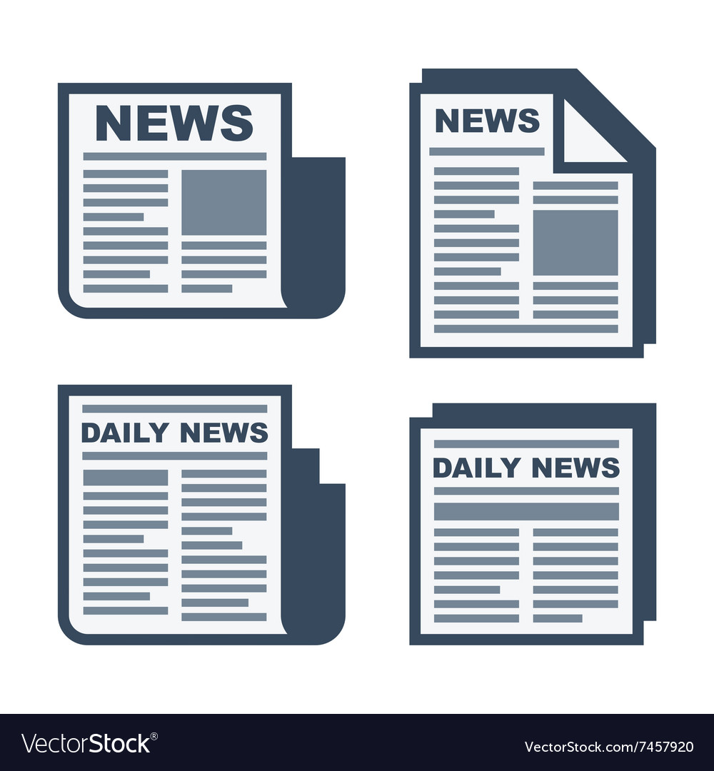 Newspaper Icons Set on White Background