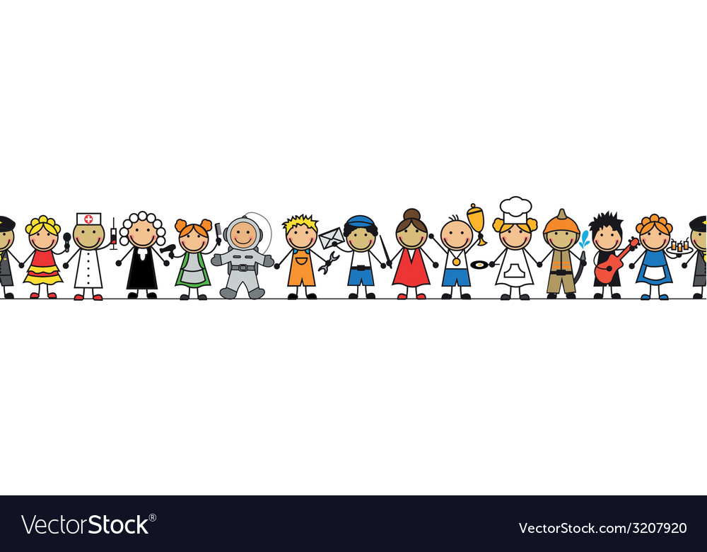 Seamless kids in costumes professions stand vector image