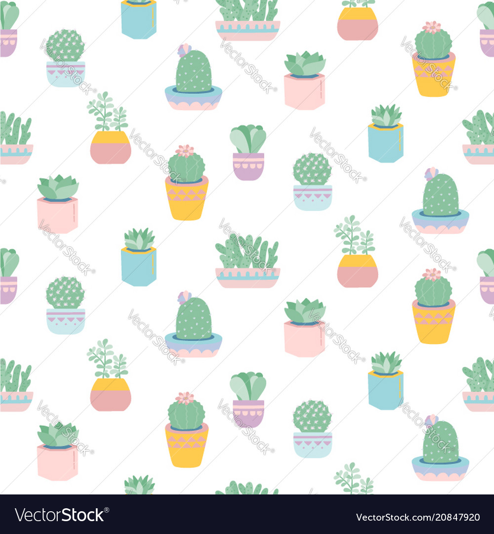 Seamless pattern with cute succulents in pots