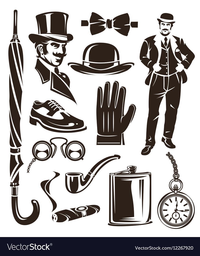 Set of vintage gentleman emblems labels