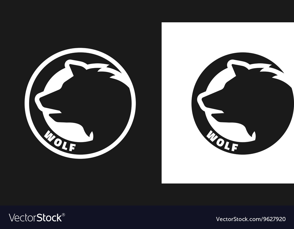 Silhouette of an wolf monochrome logo vector image