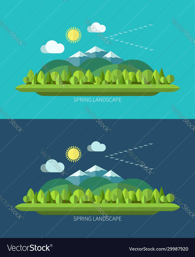 Spring nature landscape in flat design style vector