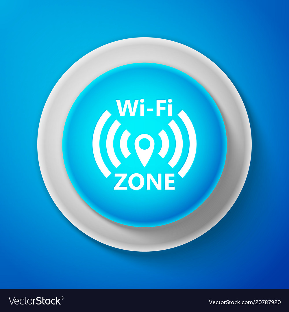 Wi-fi network icon isolated on blue background