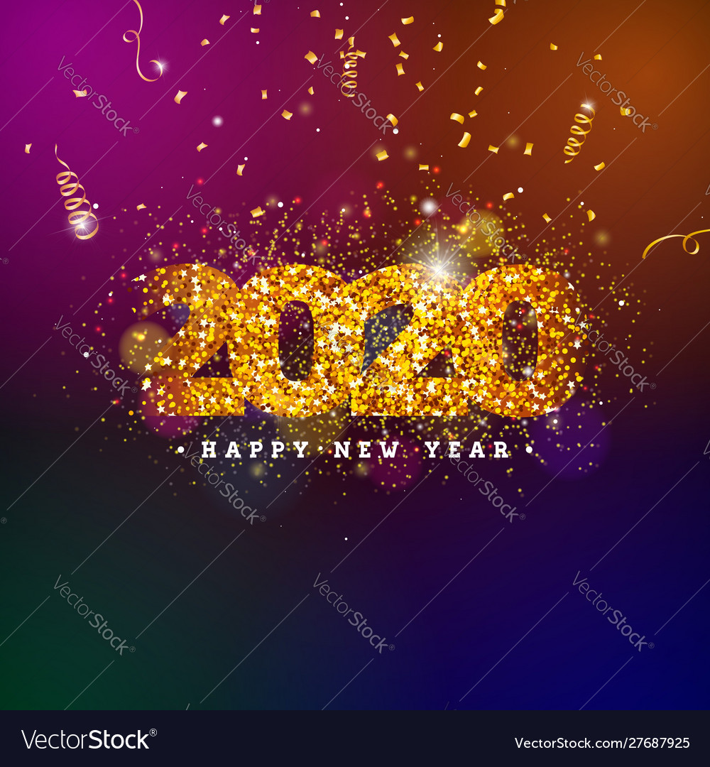 2020 happy new year with shiny number