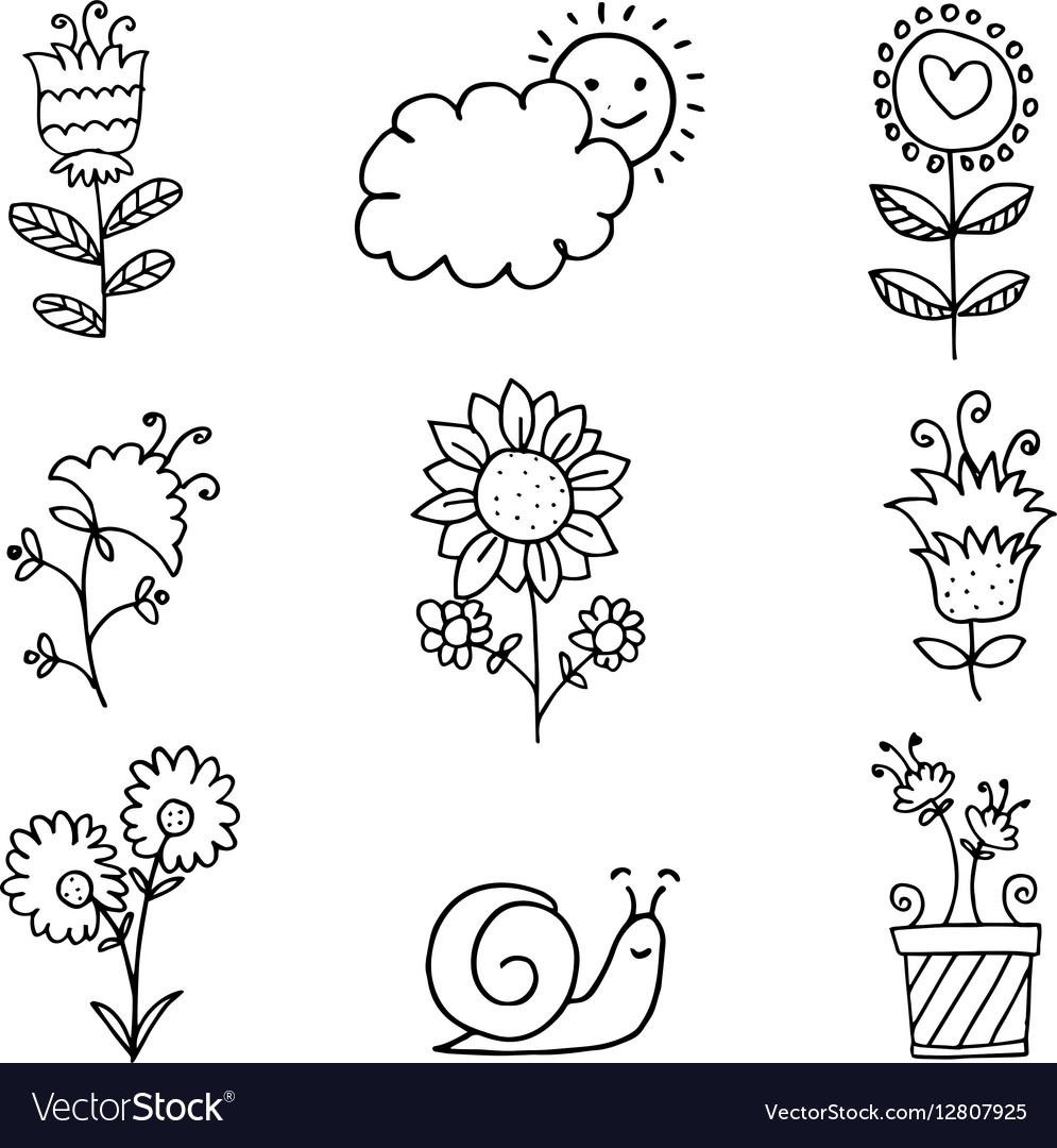 Doodle of spring flower set hand draw royalty free vector doodle of spring flower set hand draw vector image mightylinksfo