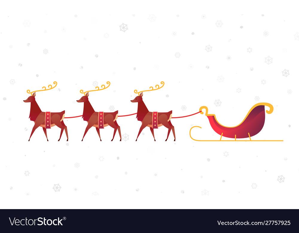 Flat christmas reindeer with santa sleigh