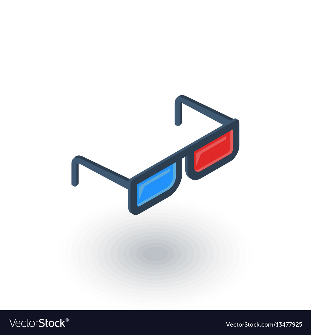 Glasses for movie isometric flat icon 3d