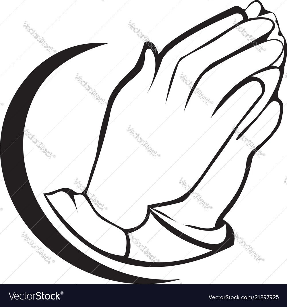 Hopeful praying hands icon symbol