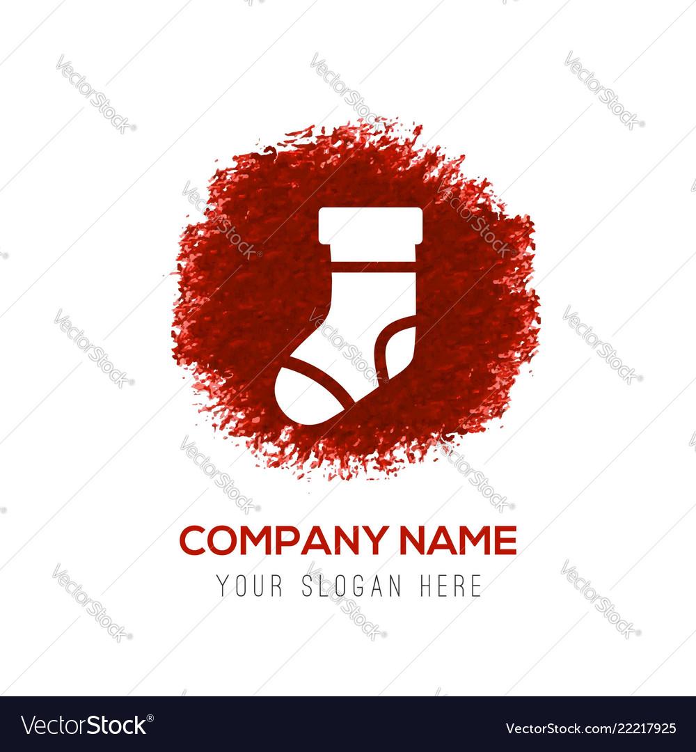 Icon socks - red watercolor circle splash