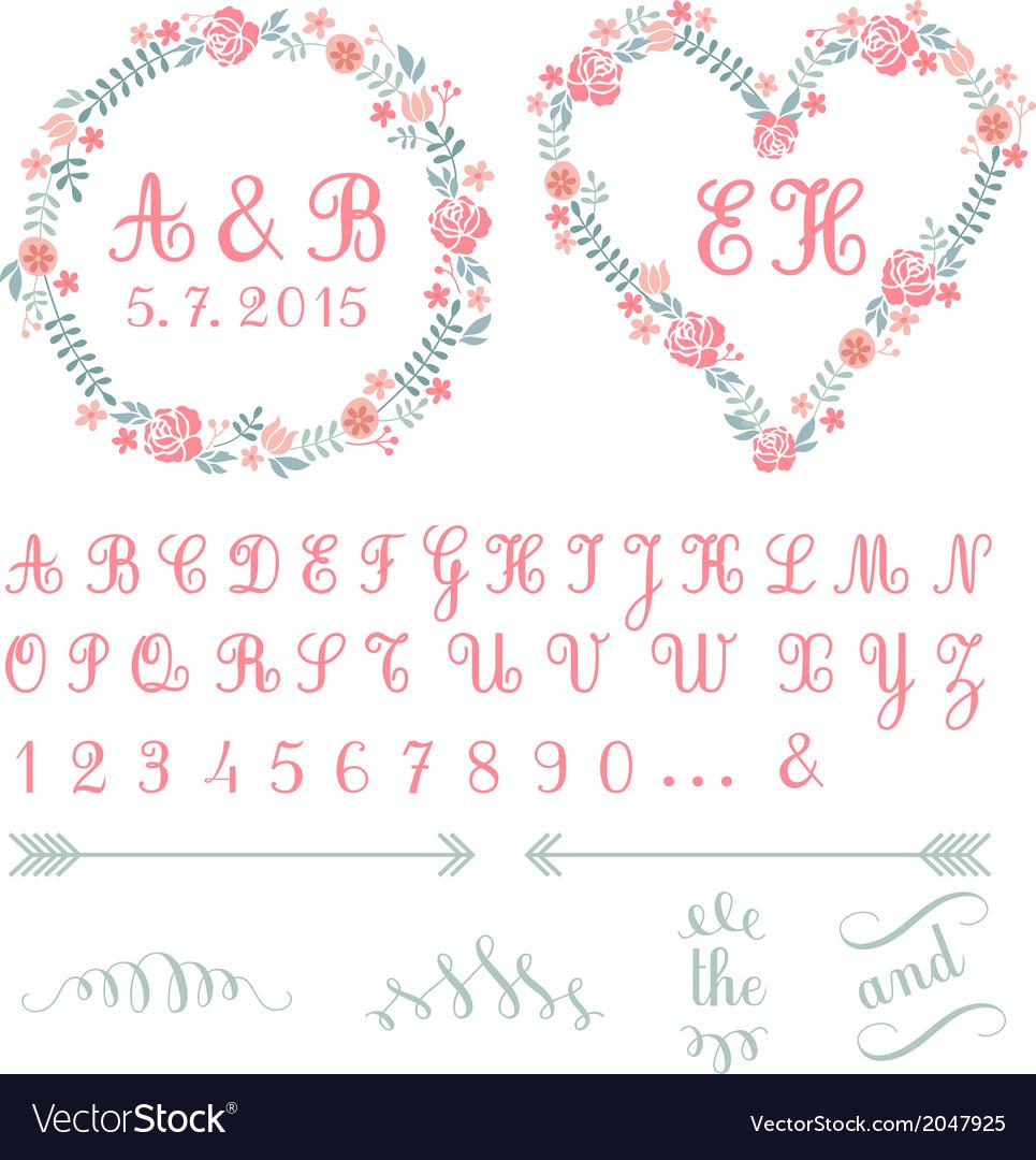 Monogram in floral frames set