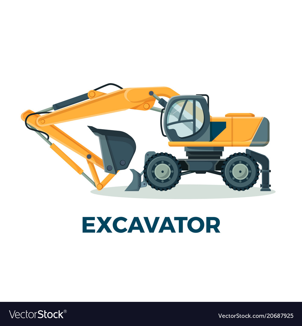 Powerful modern excavator with big ladle for
