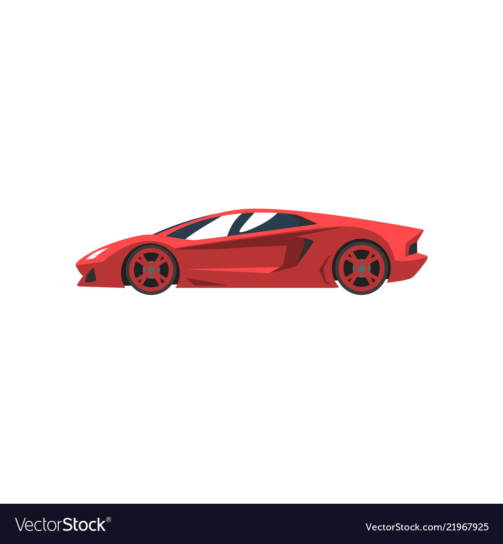 Red Sports Racing Car Supercar Side View Vector Image