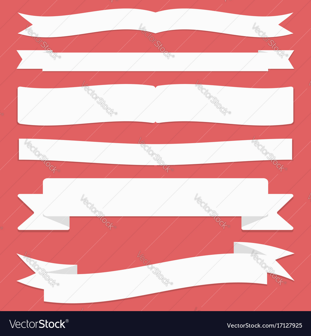 Ribbons set flat design and banners