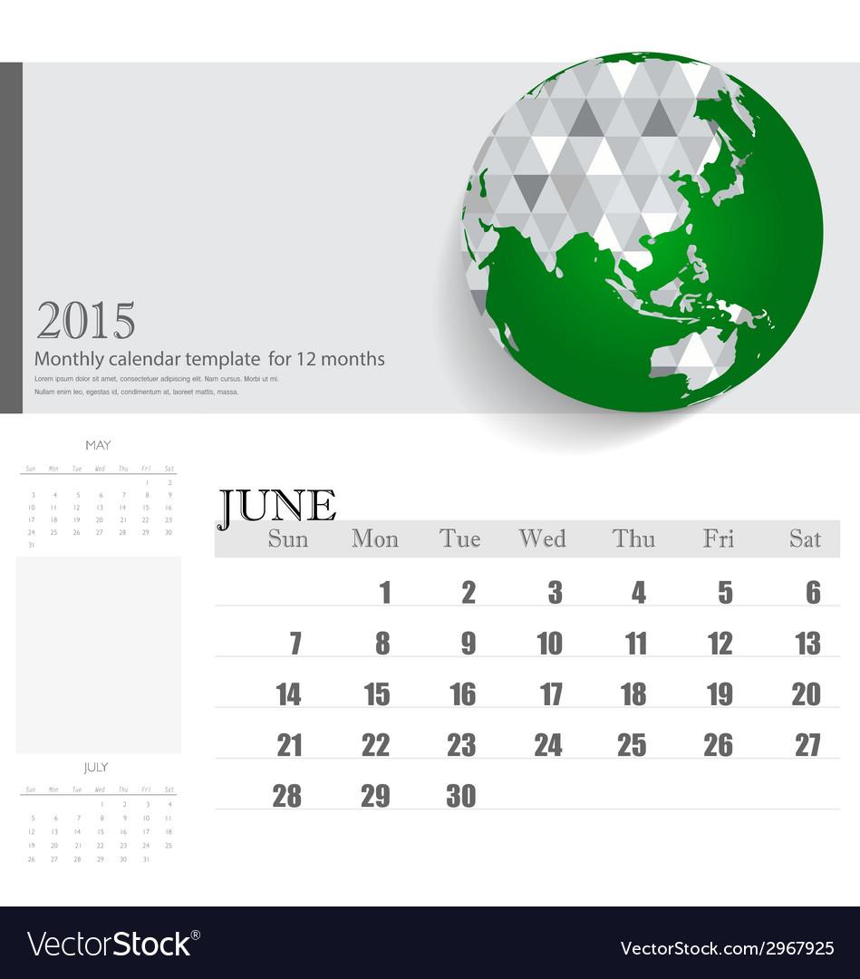 simple 2015 calendar june vector image