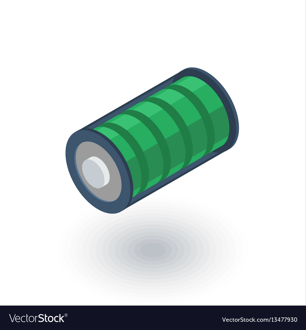 Battery charge full isometric flat icon 3d vector image
