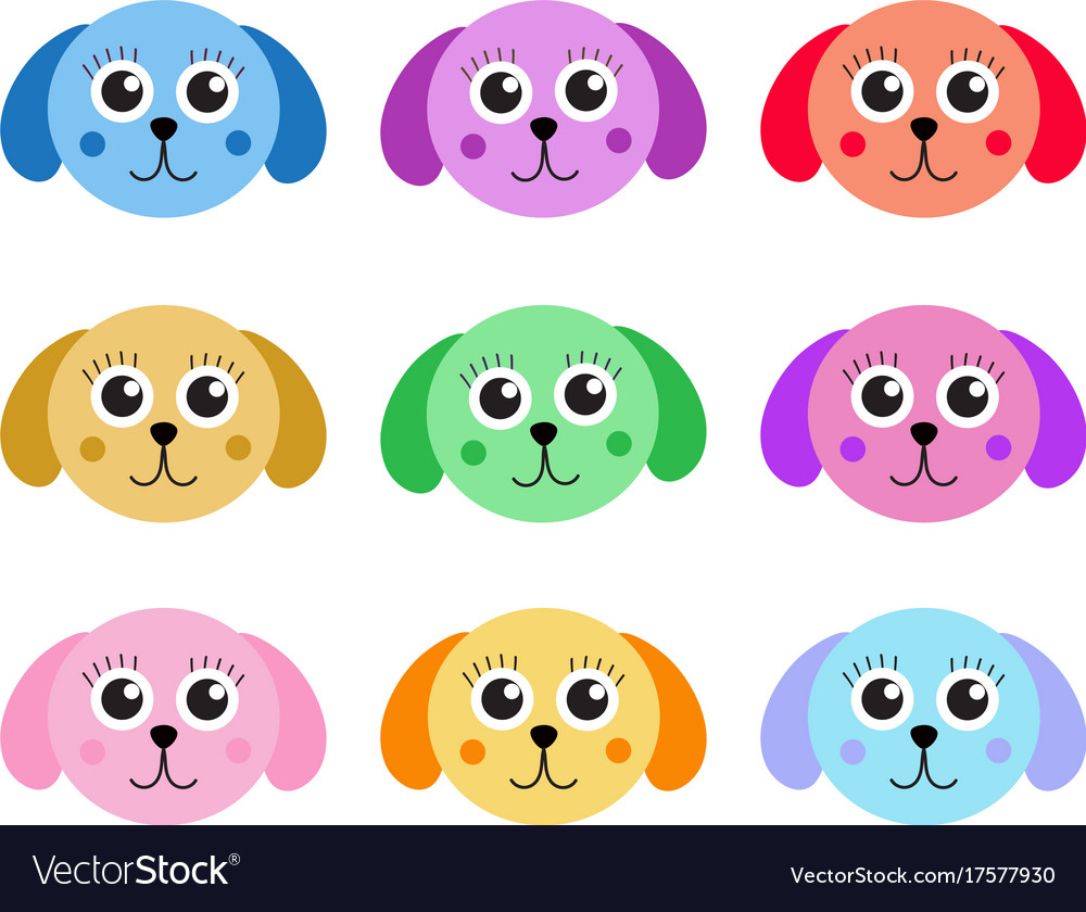 Collection of cute colorful puppy dog isolated on