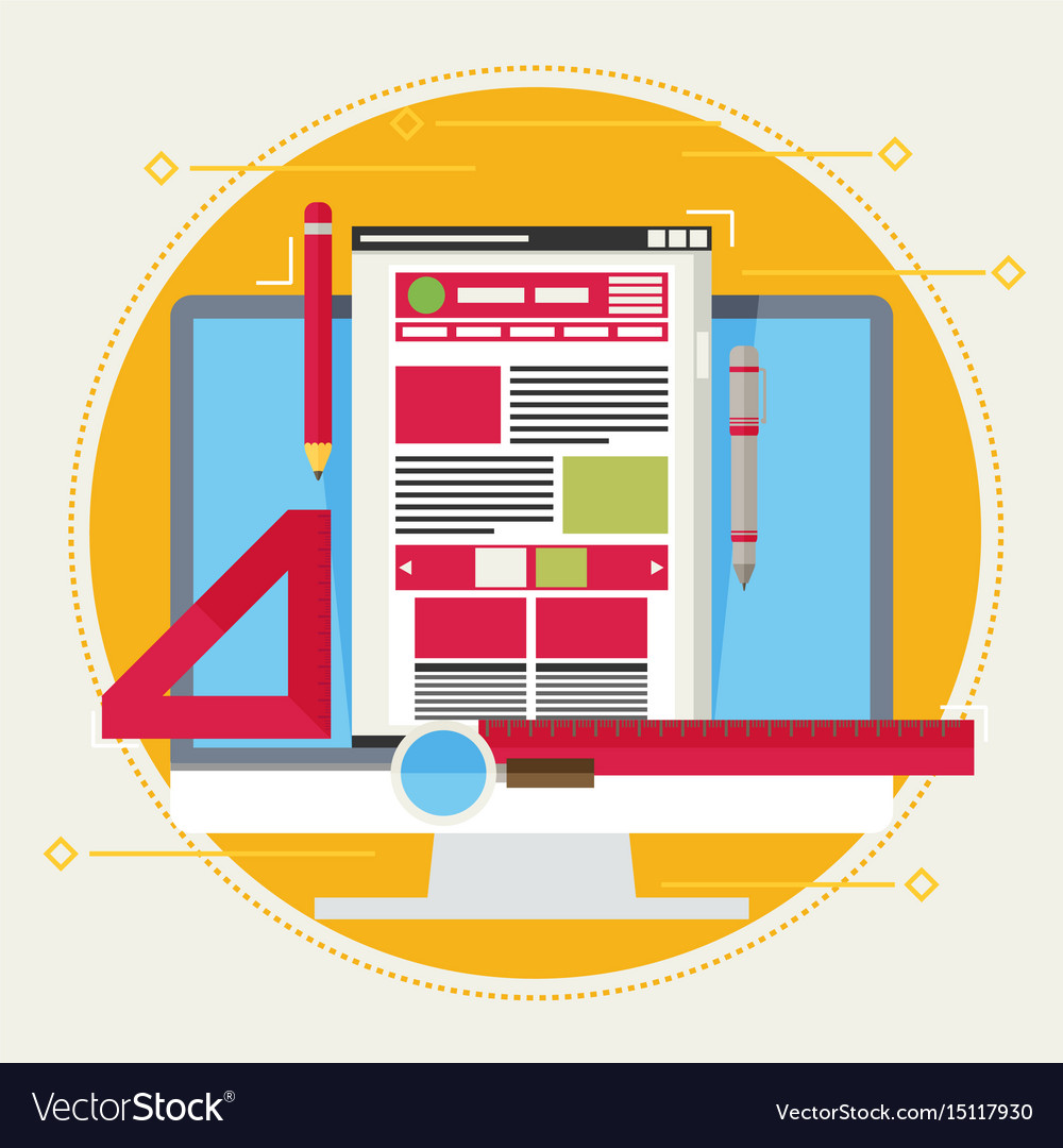 Flat of web design and development concepts