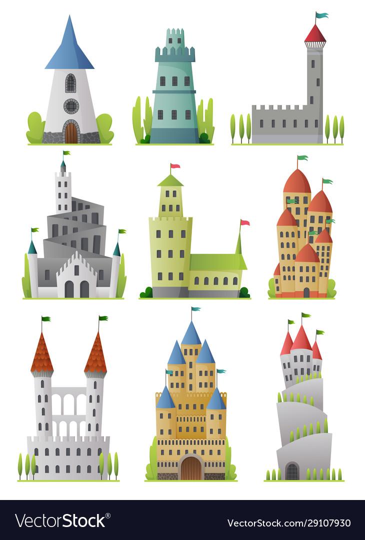Flat set large fairy tale castles