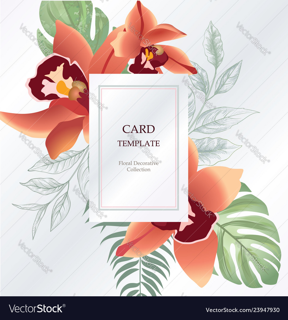 Floral greeting invitation card template design