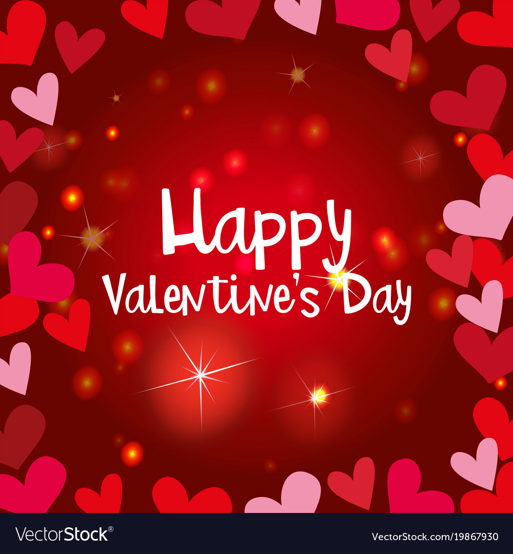 Happy valentine card template with shiny hearts vector image maxwellsz