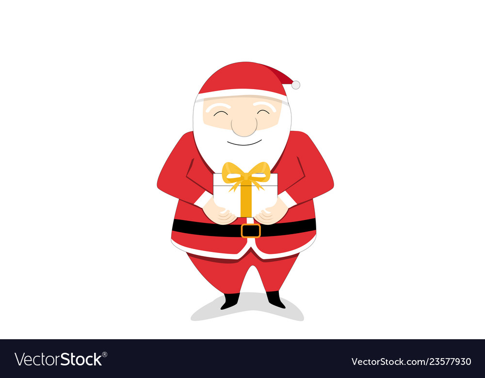 Isolated santa claus send gift box to you