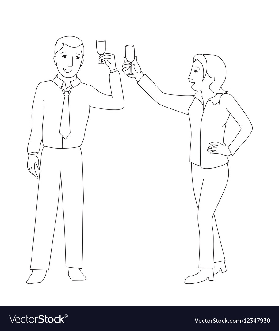 Man and woman clink champagne glass