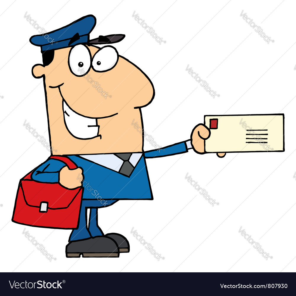 Postal Worker Mail Man Holding A Letter Royalty Free Vector