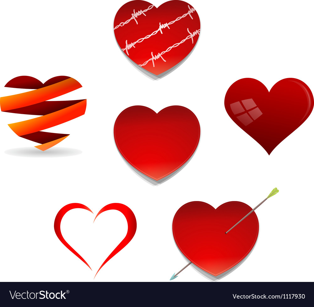 Set of Valentine Hearts vector image