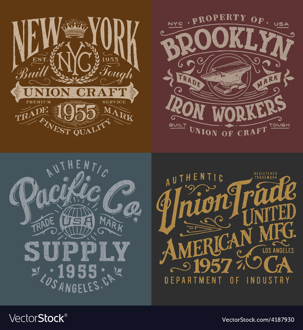 Vintage workwear graphics set