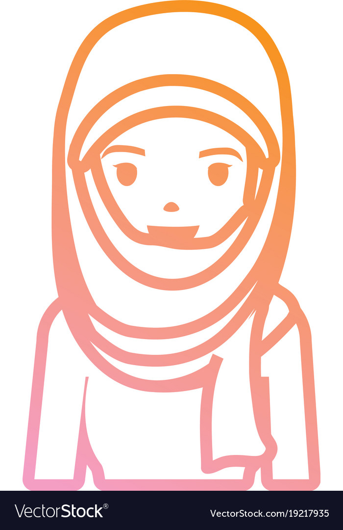 Arab woman cartoon neon lines