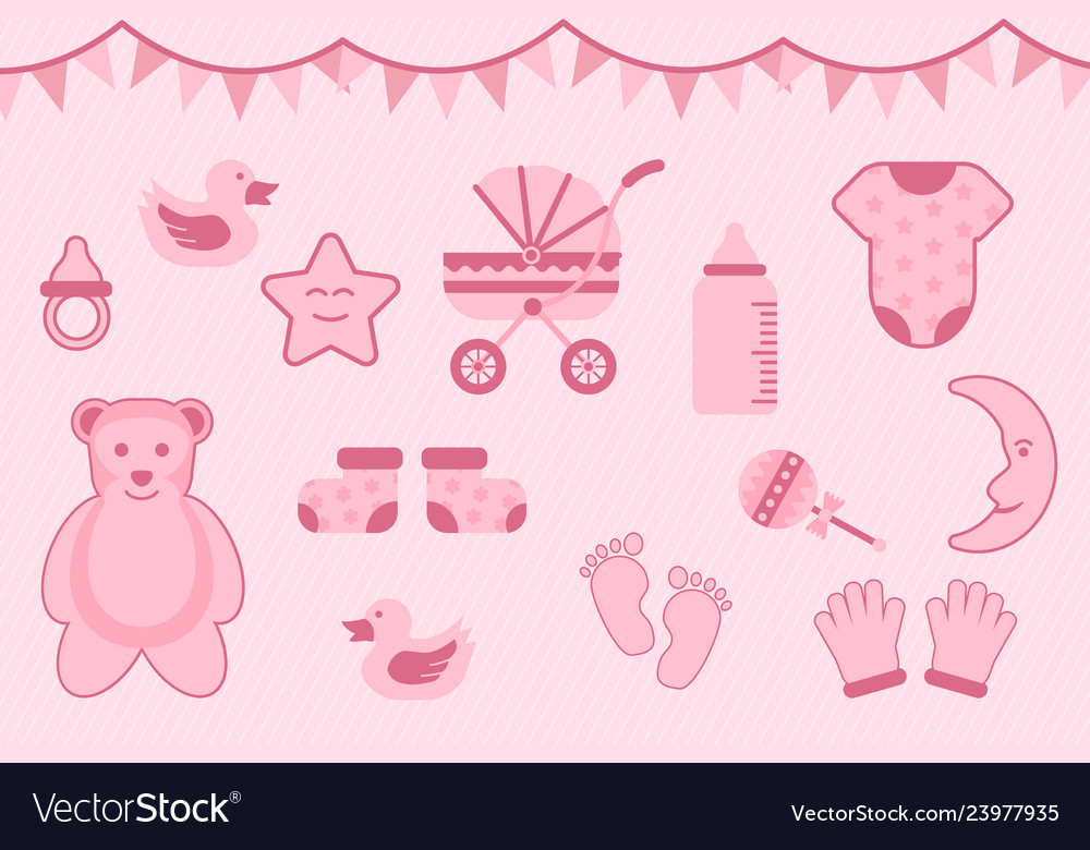 Baby shower greeting with pink color with various