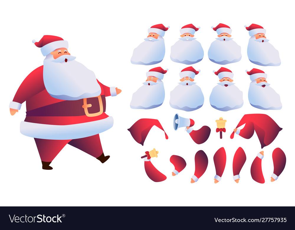 Cartoon santa claus animation christmas set