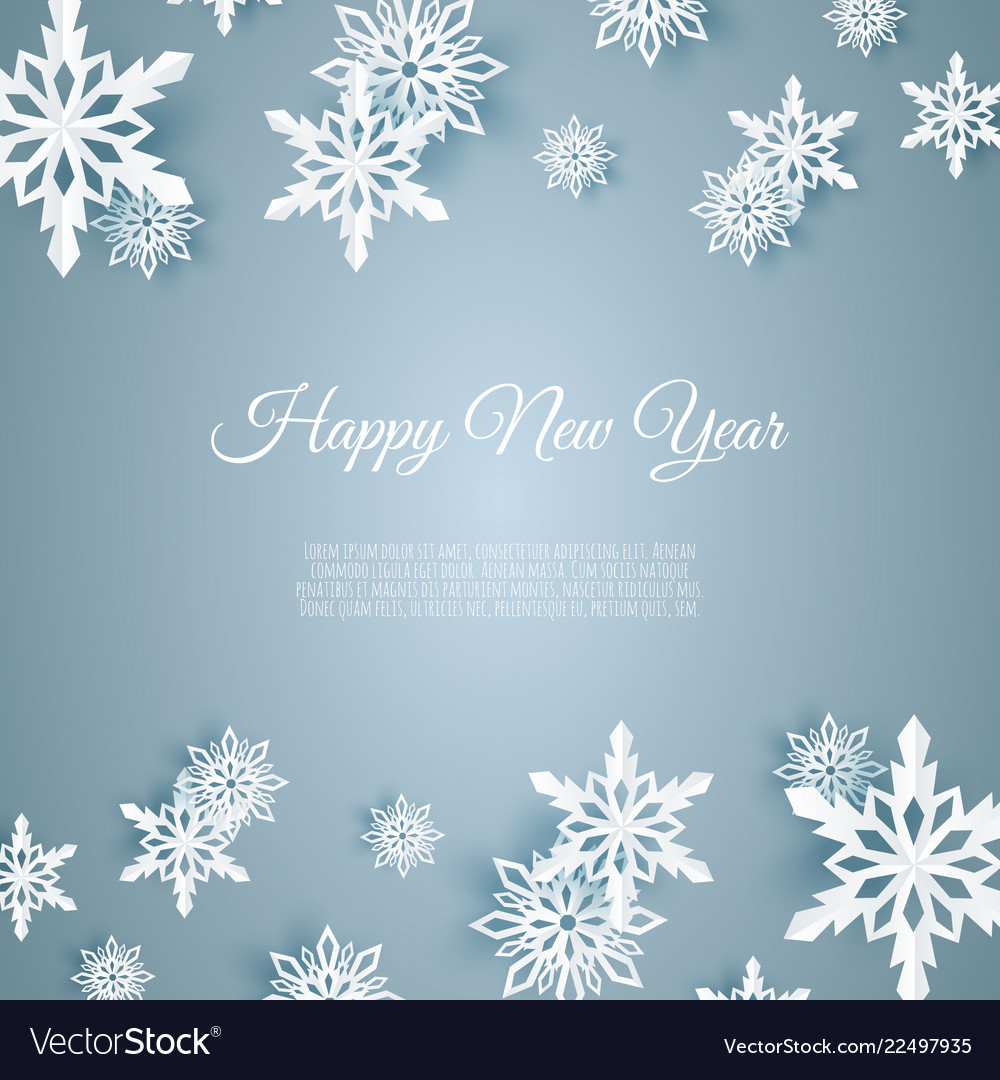 Christmas card with paper snow flake falling