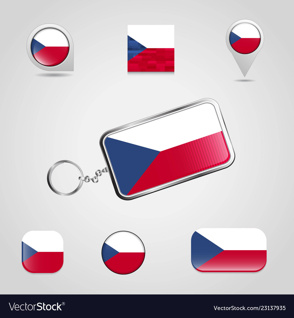 Czech republic country flag on keychain and map