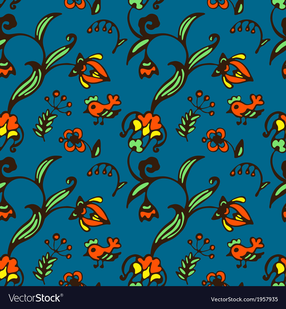 Doodle bird and flower seamless pattern