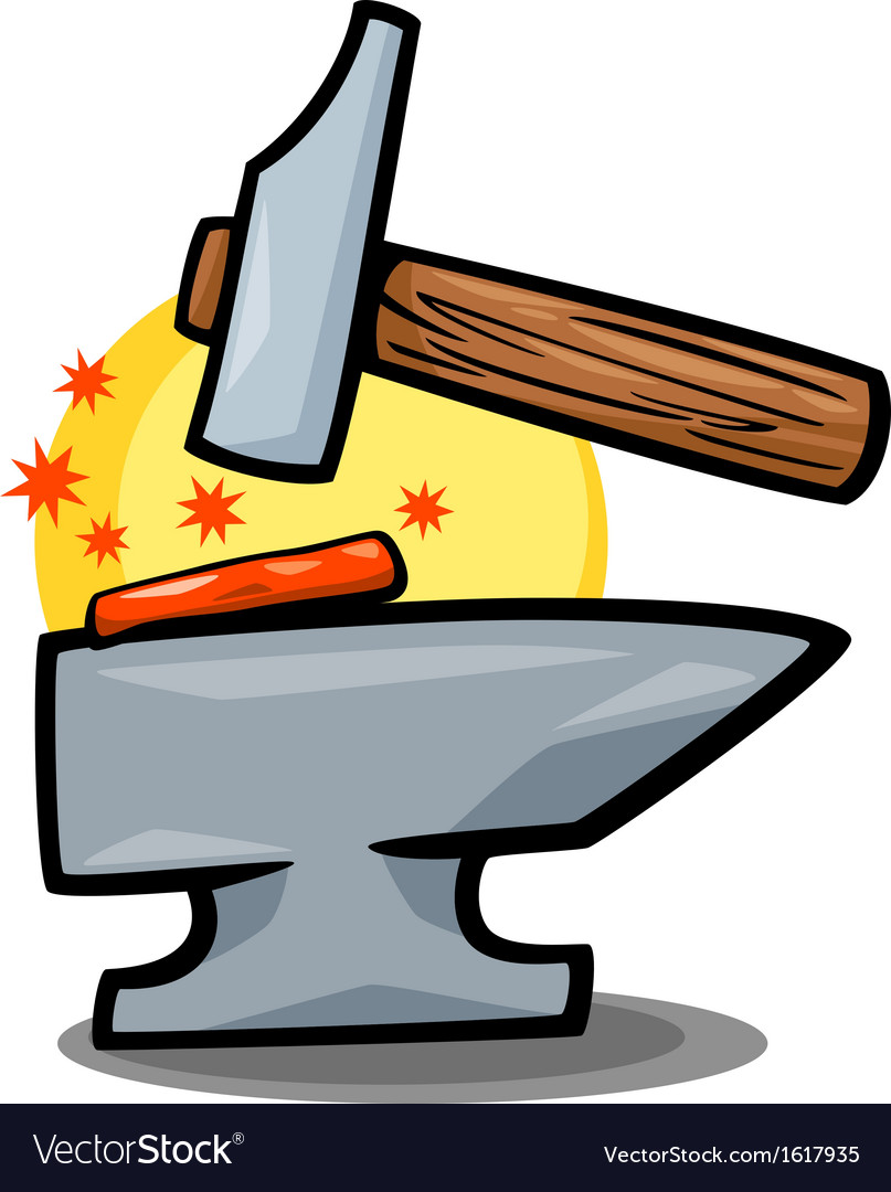 Hammer and anvil clip art cartoon vector image