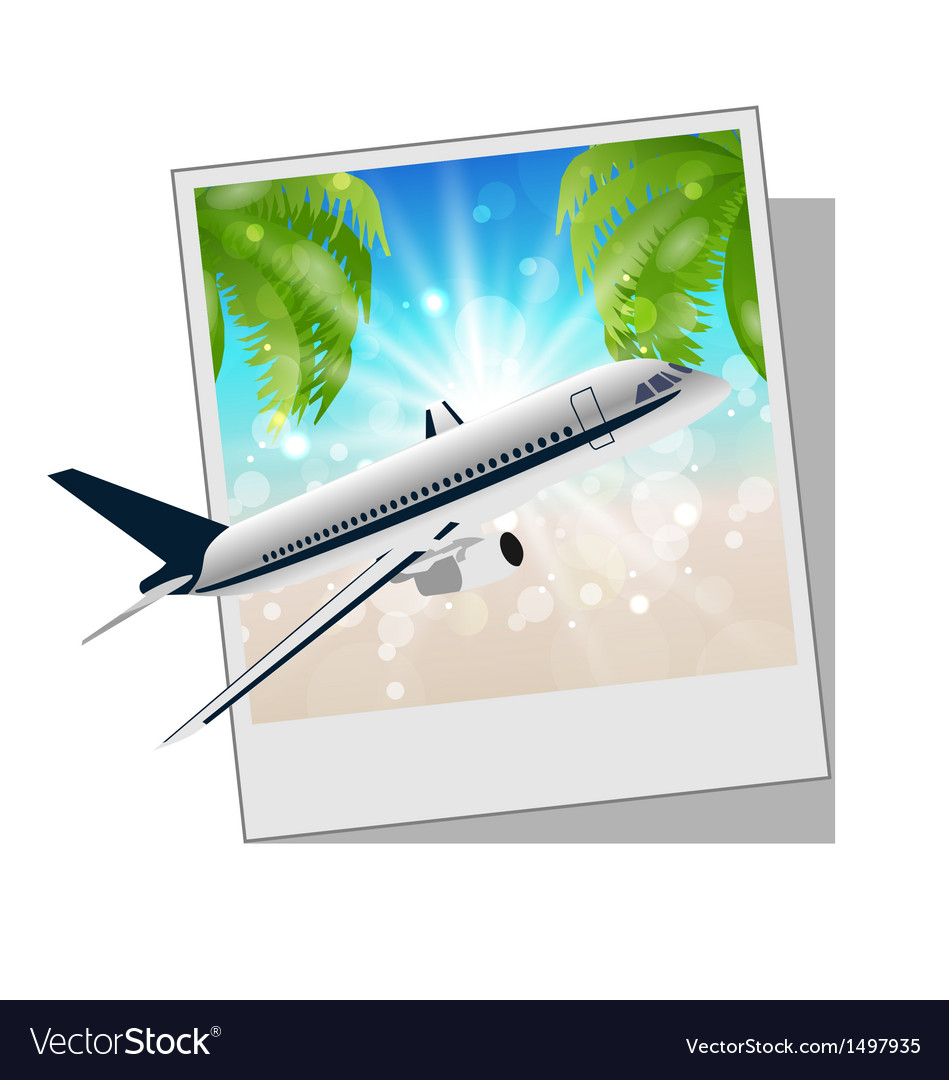 Photo frame with seaside and plane Royalty Free Vector Image