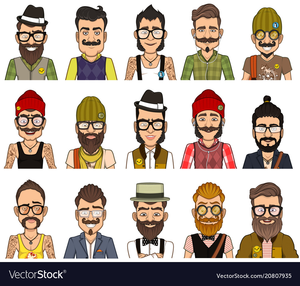 Set of avatars hipsters
