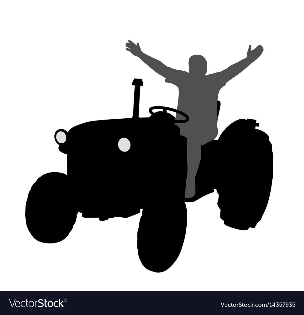 Successful happy farmer on tractor with hands up