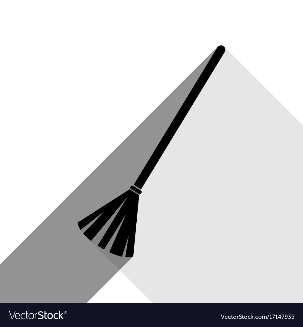 Sweeping broom sign black icon with two