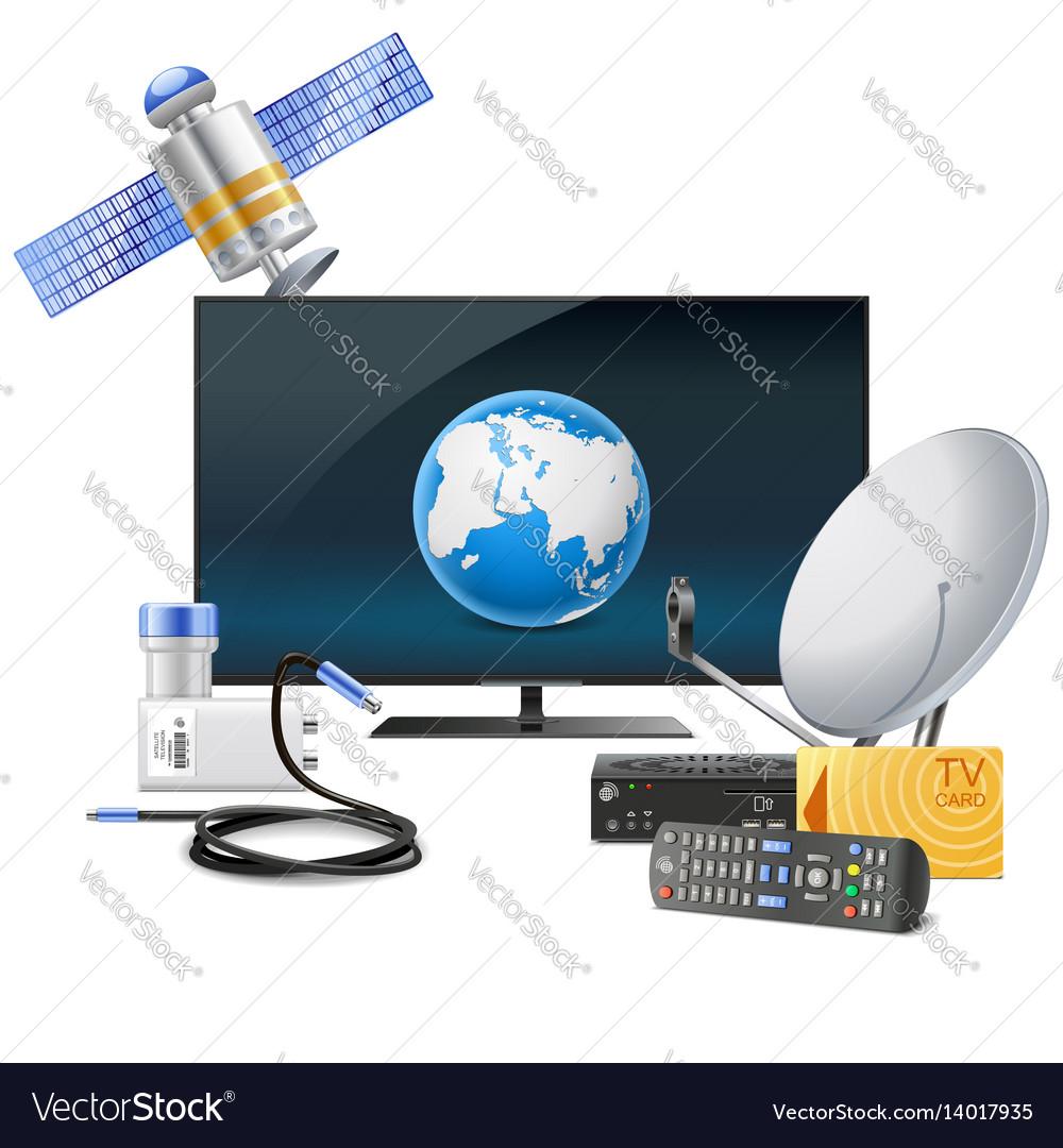 Tv with satellite equipment
