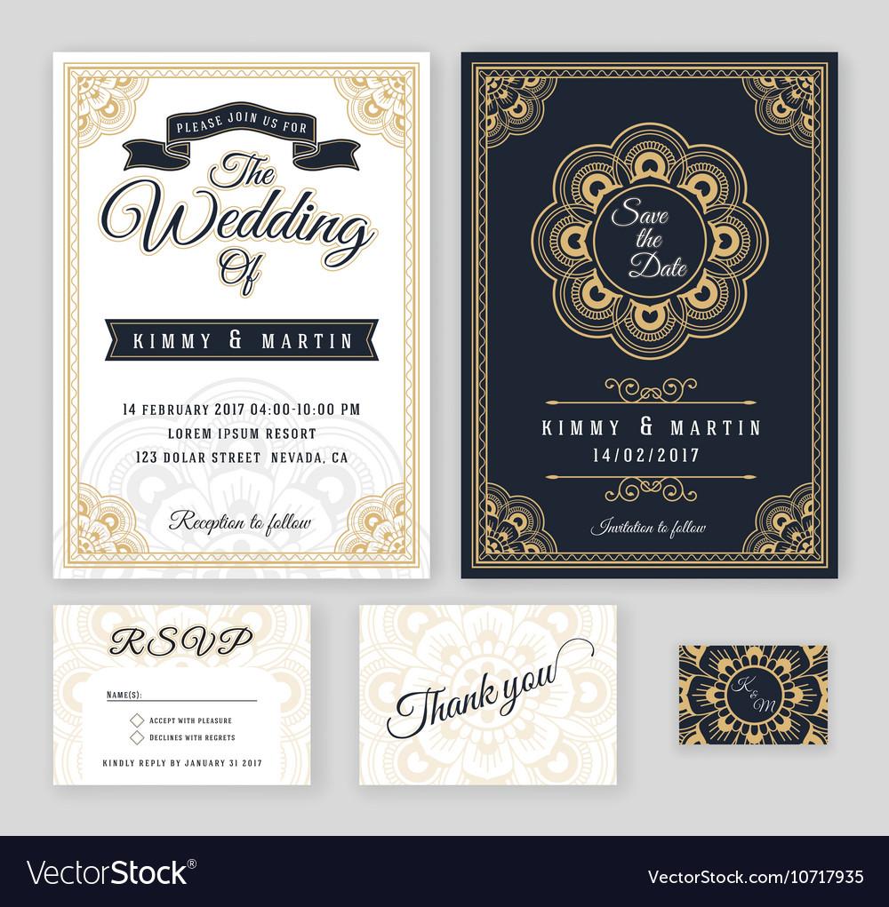 Vintage wedding invitation mehndi mandala design vector image stopboris Images