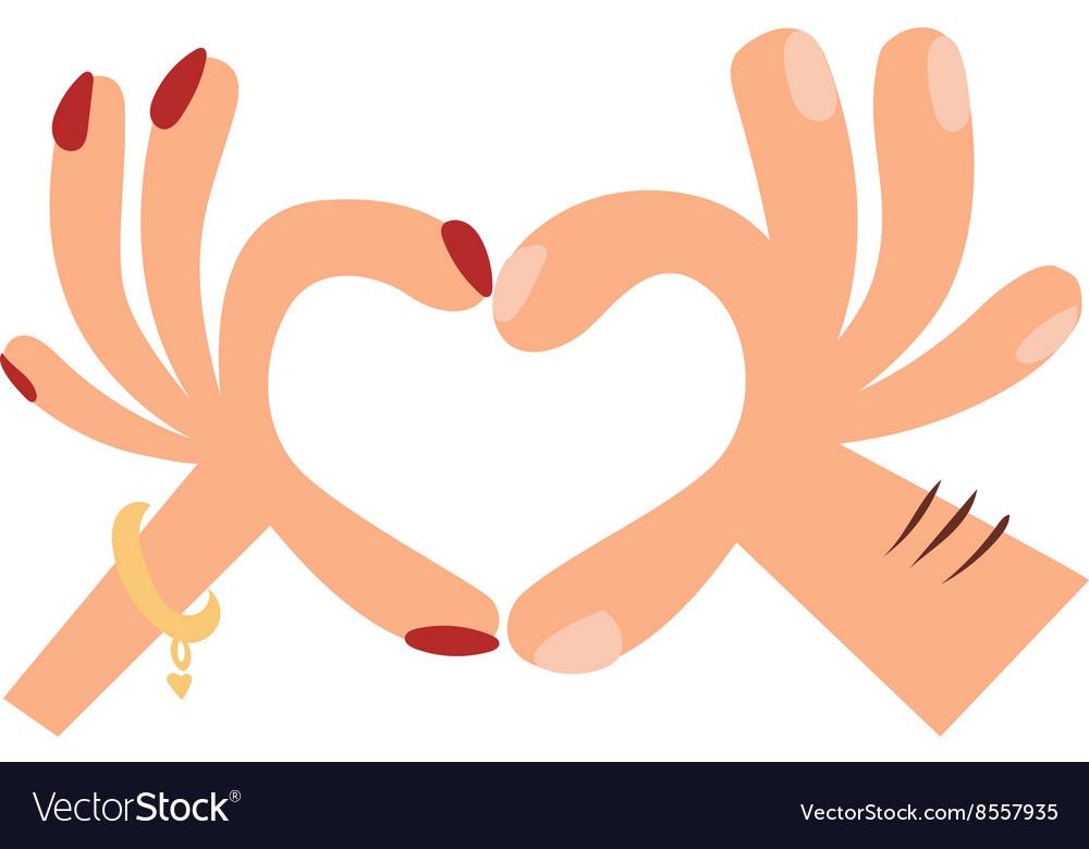 Woman hands making a heart shape sign cartoon flat