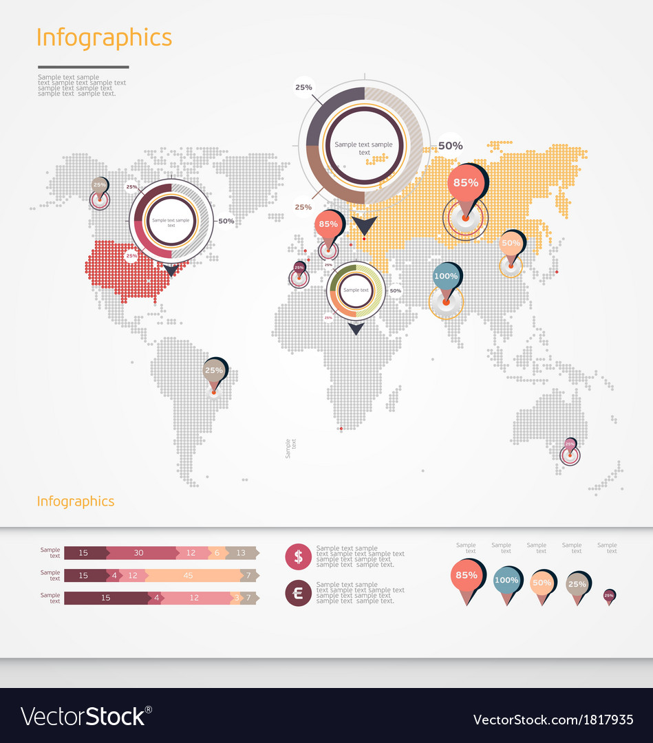 World map infographic royalty free vector image world map infographic vector image gumiabroncs Choice Image