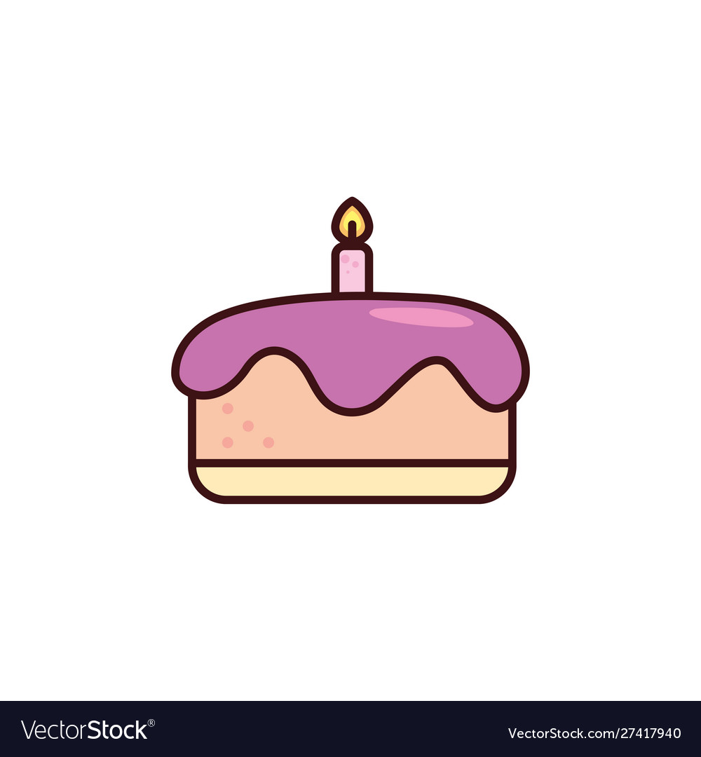 Prime Birthday Cake With Candle In White Background Vector Image Personalised Birthday Cards Arneslily Jamesorg