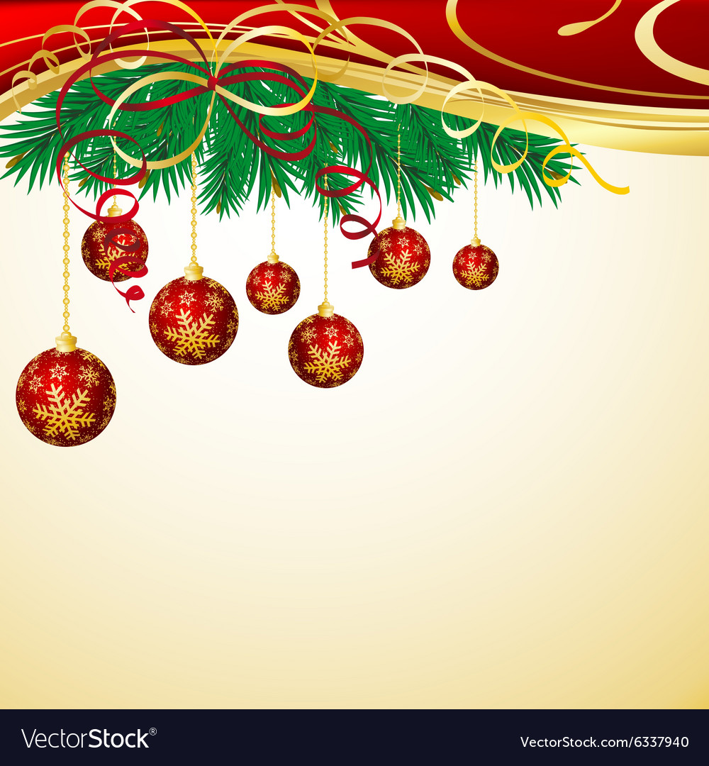 Christmas background with red balls and green