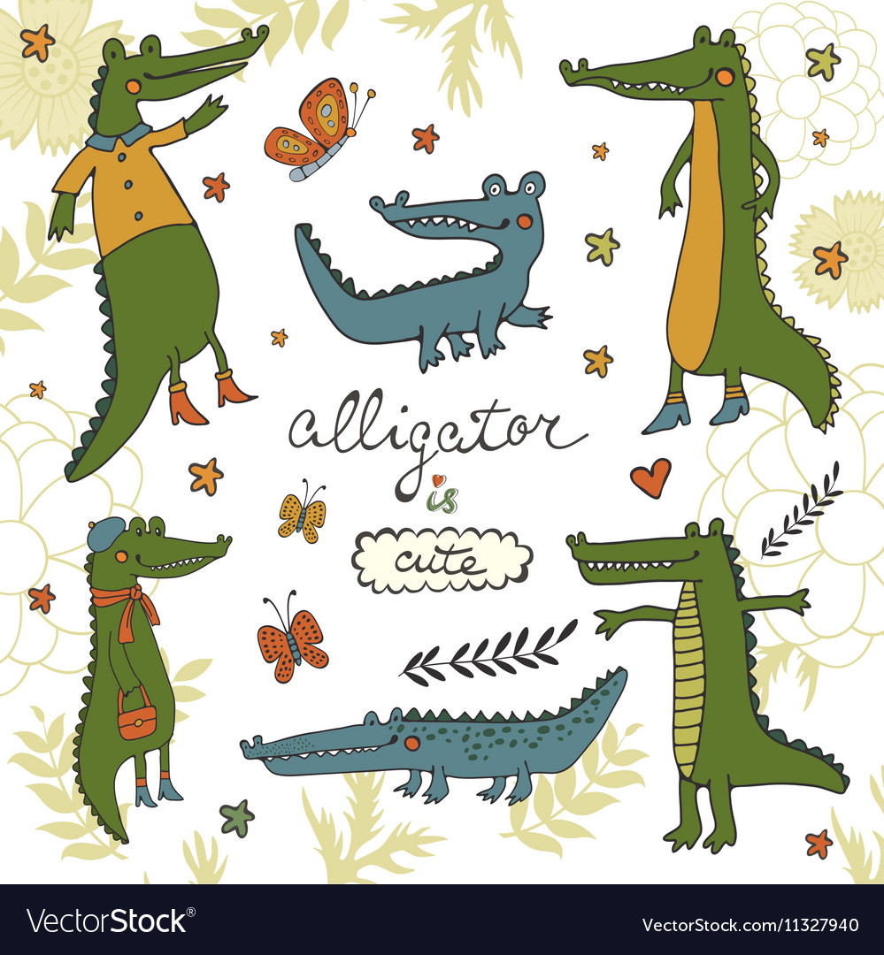 Cute collection of hand draw crocodiles