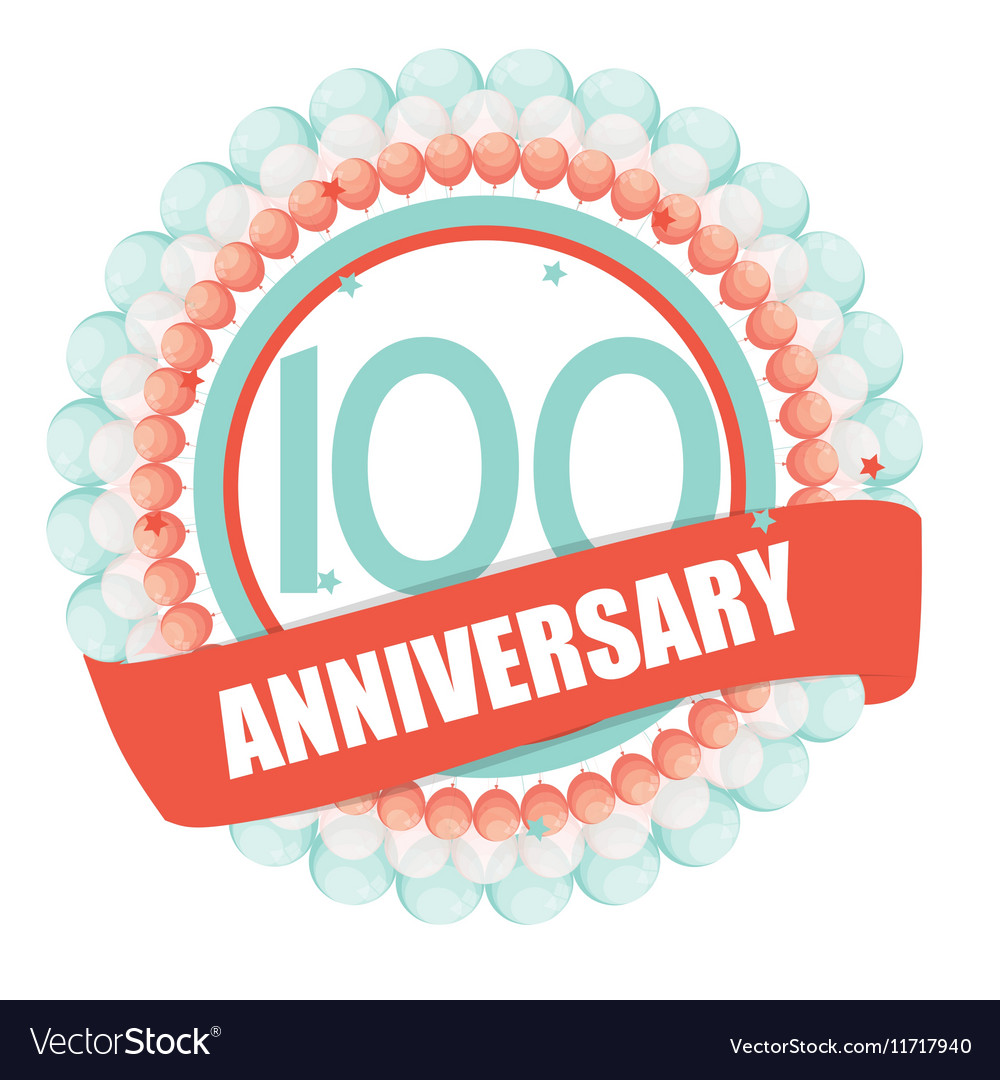 Cute Template 100 Years Anniversary with Balloons vector image