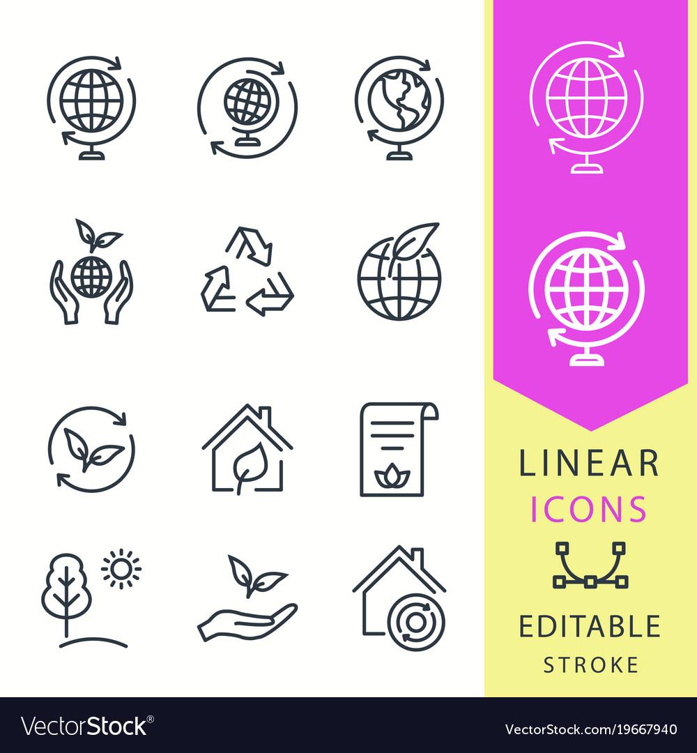 Ecology - line icon set editable stroke