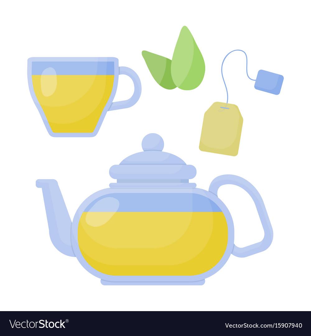 Green tea flat icon set
